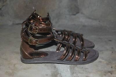 Bronze Metallic Kid Schuhe (New GAP Kids Gladiator Sandals Girl's 12 Metallic Bronze Ankle Strap Egyptian)