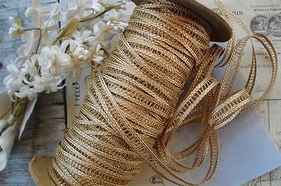 1y ANTIQUE VINTAGE FRENCH GOLD METALLIC INSERT LACE BRAID JACQUARD RIBBON TRIM for sale  Ventura