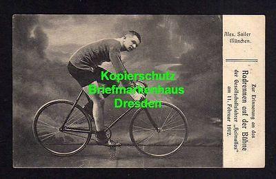 114832 AK Fahrrad Alex Sailer München 1912 Radrennen auf der Bühne der Gesellsch