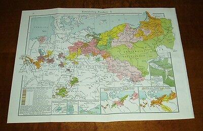 Entwicklung Preußens I.  / alte Landkarte (1916)