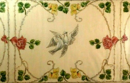 ANTIQUE BELLE EPOQUE PAINTED FABRIC TAPESTRY THORNY ROSES & DOVES FRAMED!