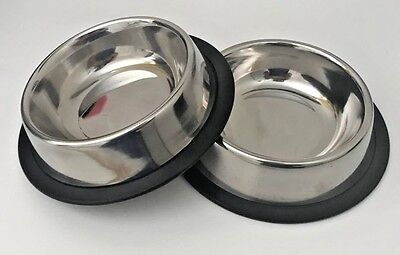 2 X Pet Food/Water Bowl/Dish-Small Cat/Dog-Anti-skid/Rubber/Stainless steel-8 Oz
