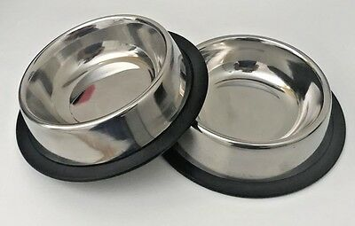 2 X Pet Food/Water Bowl/Dish-Small Cat/Dog-Anti-skid/Rubber/Stainless steel-8 Oz 2 Small Pet Bowl