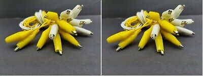 20 Pc Yellow White Double Ended Test Leads Alligator Clips Jumper Cable Clamp
