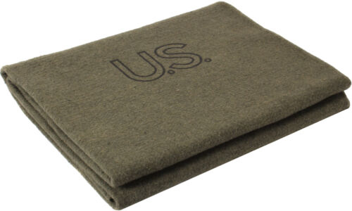 "US Made Olive Drab Virgin Wool Blanket Military Army Genuine GI 62"" x 82"" Warm"
