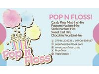 £100 for 1hour/£130 2hours/£150 3hours of unlimited Popcorn & Candy floss hire/£130 unlimited Slush!
