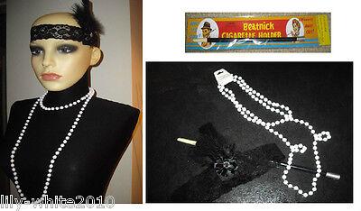 1920's Black Charleston Feather Headband - Flapper - Pearl Necklace - Fag Holder