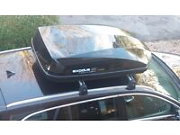 Twin Vauxhall brand roof bars for Insignia estate with Halfords Exodus 470 litre roof box £250