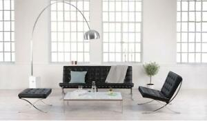 Barcelona Lounge Chair: real leatherin white, black and tan colours available