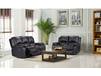 BRAND NEW leather 3+2 recliner sofa black fast delivery