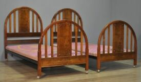 """High Quality Pair Of 2 Vintage Burr Walnut 36"""" Single Beds Ends With Divan Bases"""
