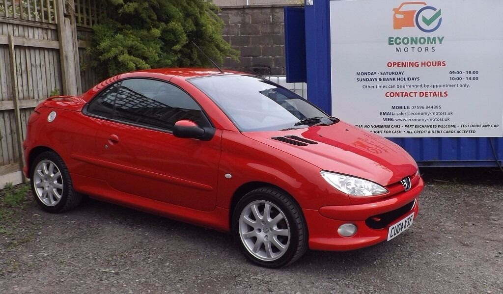 2004 04 1 6l peugeot 206 cc manual convertible in red 80820 miles in chipping sodbury. Black Bedroom Furniture Sets. Home Design Ideas