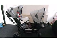 Obaby ABC design zoom tandem, comes with carrycot, maxi cosi carseat also has raincovers