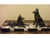 LARGE ART DECO FIGURE OF TWO GERMAN SHEPHERD ALSATIAN DOGS ON MARBLE