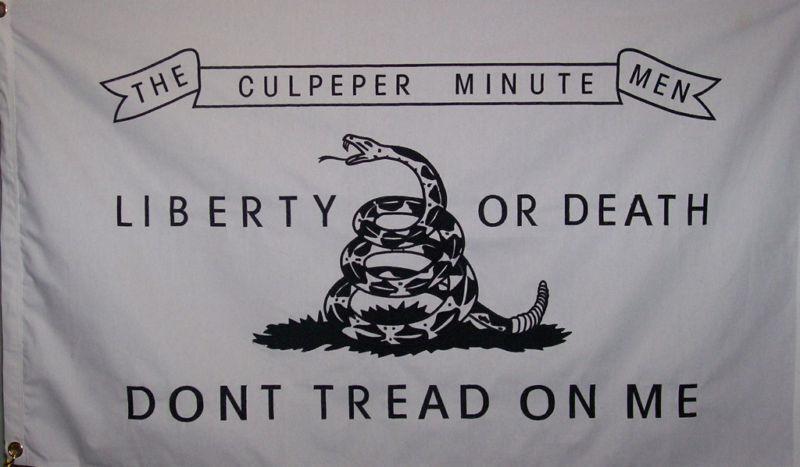 HEAVY DUTY COTTON CULPEPER MINUTEMEN FLAG - TEA PARTY - AMERICAN REVOLUTION