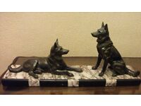 LARGE ART DECO FIGURE 2 GERMAN SHEPHERDS ON MARBLE BASE
