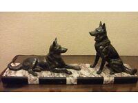 LARGE HEAVY ART DECO FIGURE OF TWO GERMAN SHEPHERD DOGS ON MARBLE BASE