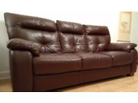 Reid Furniture 3 seater brown leather sofa