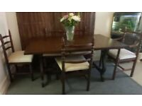 Vintage 1972 Youngers Toledo Extendable Chestnut Dining table with 6 chairs