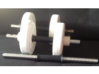 2 weight sets and 1 handed weight bar with no weights
