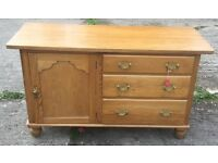 ANTIQUE PINE CUPBOARD WITH 3 DRAWERS DRAWERS