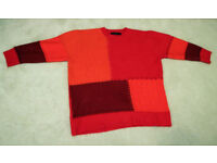 """Zara """"oversize"""" red knitted jumper (small - approx size 12) - worn twice"""