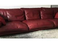 DFS red leather large sofa 4 seater