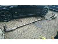 """VAUXHALL ASTRA VXR FULL STRAIGHT THROUGH EXHAUST DOUBLE DECAT 3"""" SCORPION DOWNPIPE INTO 2.75 MILTEK"""