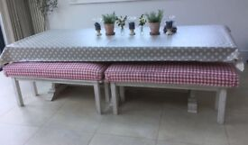 2 x Solid Beechwood Made to Order Benches and Cushions . Used Good condition