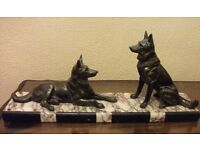 LARGE ART DECO FIGURE OF TWO GERMAN SHEPHERD DOGS ON MARBLE BASE