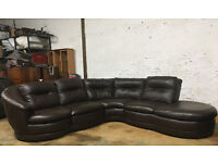 DFS Brown leather corner swivel couch DELIVERY AVAILABLE