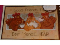 Dimensions Good Friends Listen (Chickens & Tea) Cross Stitch Kit, Ref: 65079