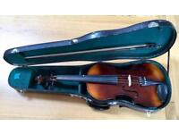 Viola with bow and case