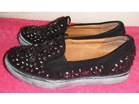 Jeffrey Campbell Black Suede & Leather Alva Studded Slip On Shoes / Loafers / Trainers, EUR 37 UK 4