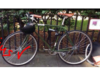 Bike | #olive #leather look #single speed #dutch handlebars