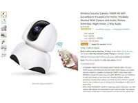 1080P HD WiFi Surveillance IP Camera for Home, Pet/Baby Monitor