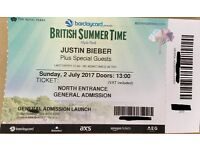 Justin Bieber - Hyde Park British Summer Time - General Admission 2 Tickets