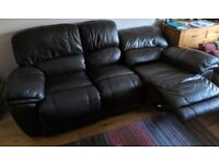 Large brown leather reclining sofa, settee, couch.