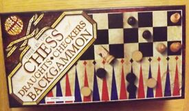 House of Marbles 3 in 1 Draughts Backgammon and Chess *New and Unused*
