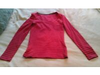 Boden red and pink striped long-sleeved scoop neck top size UK 6