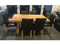 Oak Veneer Dining Table and Six Chairs
