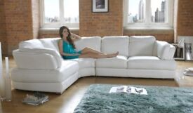White Minnesota Sofology Real Leather Corner Sofa Luxury Chair & Storage Footstool
