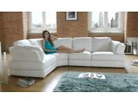 California Cotton White Minnesota Sofology Real Leather Corner Sofa Luxury Chair & Storage Footstool