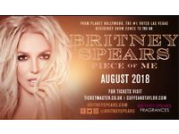 Britney Spears TICKETS seated in the first row. Below Face Value in Manchester