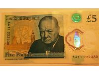 NEW Polymer Five Pound Note £5.00 AA11 222330
