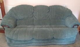 Green Three seater sofa and armchair