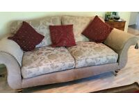 Beautiful Quality Lounge Suite with Rolled Arms and Bun Feet with Castors As New
