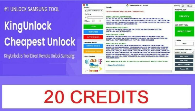Kingunlock Tool 20 Credits Pack Official instant service