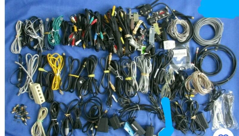 Lot-Over 50 Assorted Phone Computer Cords Connectors Chargers Cable 10 Lbs.