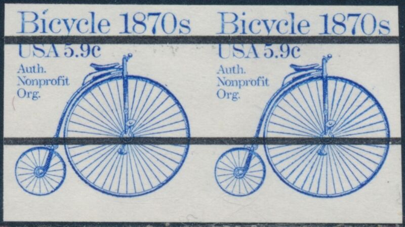 "#1901b Imperf ""bicycle"" Pair Major Error Cv $150 Br9678"